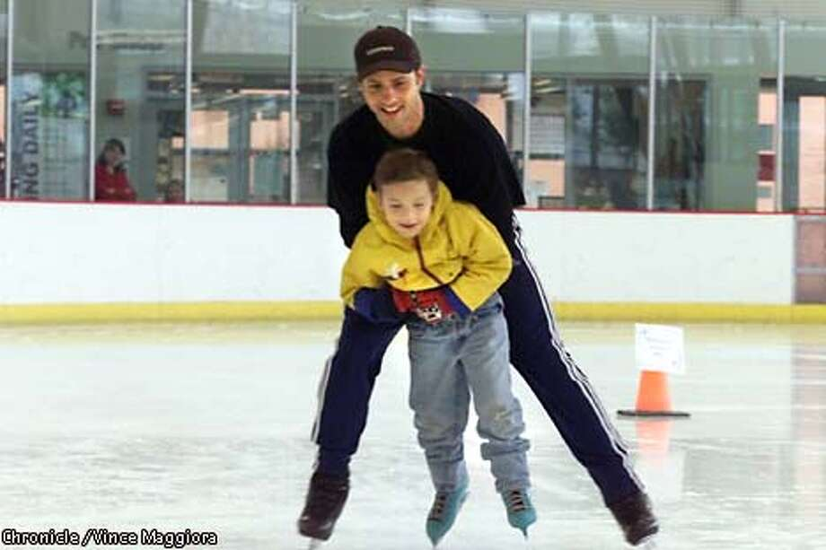 Josh Weber 5-yrs, one of the students from Sunset Elementary School is his first time on ice with Bryan Boitano. Skaters from Disney on Ice will join Brian Boitano skating program to give free skating lesson to SF schoolkids. by Vince Maggiora ALSO RAN 11/23/2000 (3*, A28) Photo: VINCE MAGGIORA