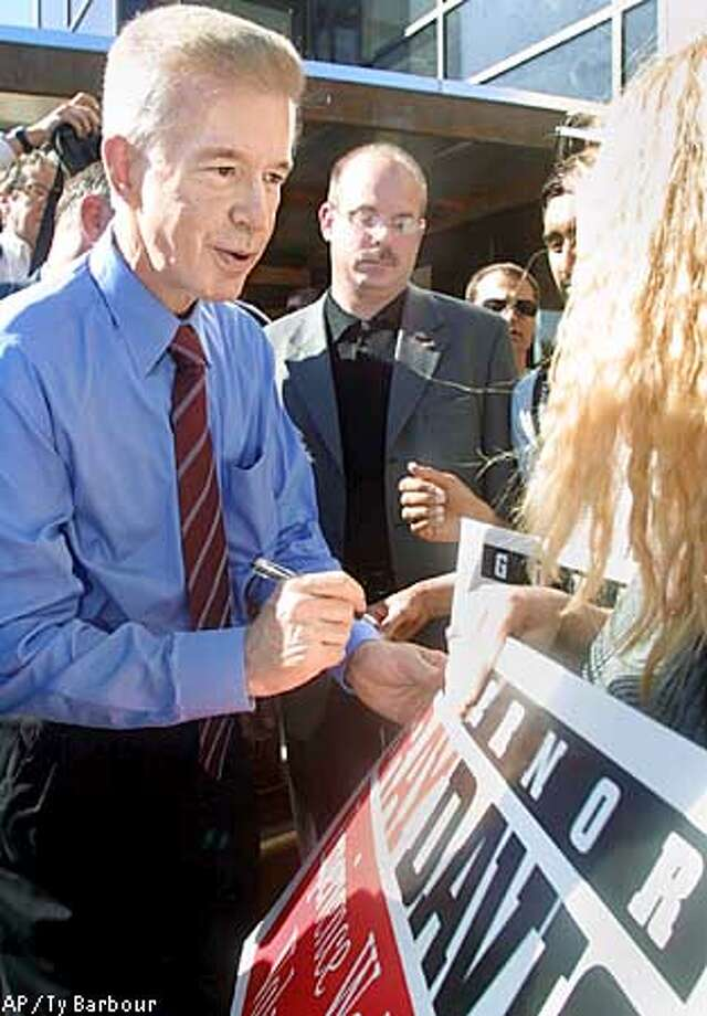 California Gov. Gray Davis signs a poster for student Kristy Jones, right, during a campaign stop at California State University, Chico Monday, Oct. 21, 2002, in Chico, Calif. (AP Photo/Chico Enterprise-Record, Ty Barbour) Photo: TY BARBOUR