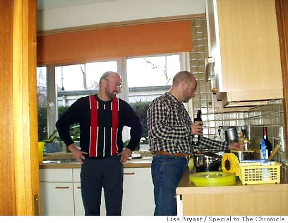 Lisa Bryant [mailto:lisabinparis@hotmail.com] requested by Mark Abel ;  For BELGIUM_GAY ; These pix are of Eddy Parijs and Guido Groeseneken, at their home in Leuven. Guido's the one wearing the red and black striped sweater ; Photo credit: Lisa Bryant Photo: Lisa Bryant