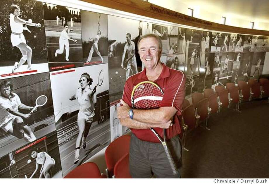 Dick Gould, Stanford men's tennis coach in his office and inside the trophy room.  Event on 5/5/04 in Stanford.  Darryl Bush / The Chronicle Photo: Darryl Bush