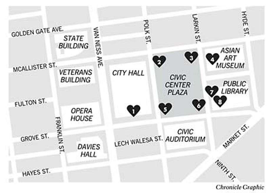 Hearts in San Francisco. Chronicle Graphic Photo: Joe Shoulak