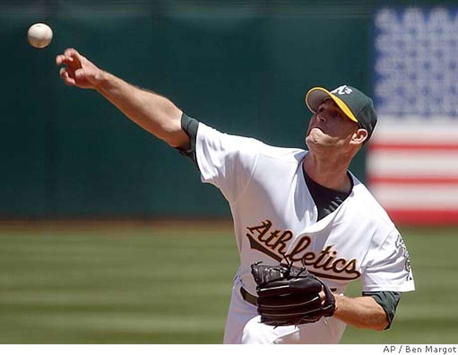 Oakland Athletics' Tim Hudson releases against the Minnesota Twins in the first inning Saturday, May 8, 2004, in Oakland, Calif. Hudson allowed nine hits in nine innings. After giving up three hits in the fourth, he retired 15 of his next 17 batters. The Twins won 3-2 in 10 innings. (AP Photo/Ben Margot) Photo: BEN MARGOT