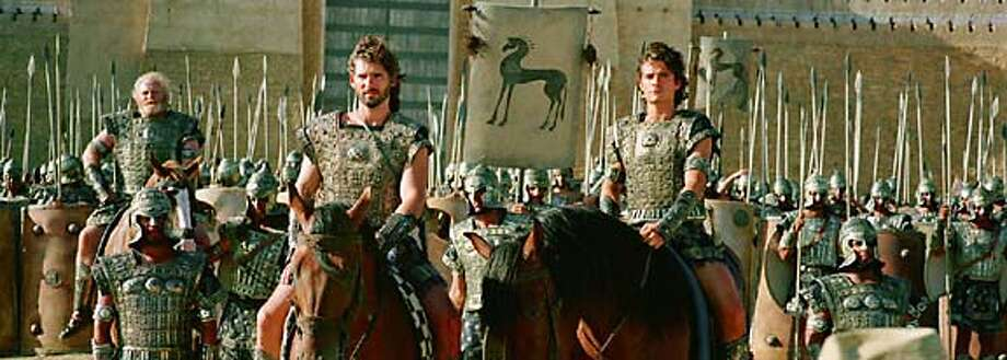"ERIC BANA (l) and ORLANDO BLOOM in Warner Bros. Pictures� ""Troy,"" also starring Brad Pitt.  PHOTOGRAPHS TO BE USED SOLELY FOR ADVERTISING, PROMOTION, PUBLICITY OR REVIEWS OF THIS SPECIFIC MOTION PICTURE AND TO REMAIN THE PROPERTY OF THE STUDIO. NOT FOR SALE OR REDISTRIBUTION"