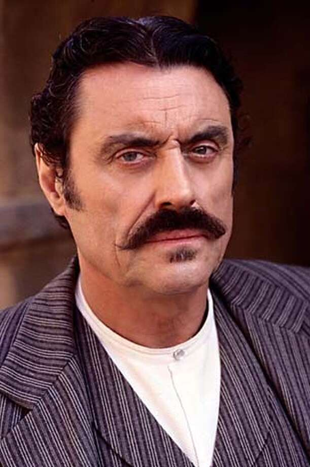 Ian McShane plays a transplanted Englishman who becomes the ruthless crime boss of a Wild West town in the HBO series Deadwood.