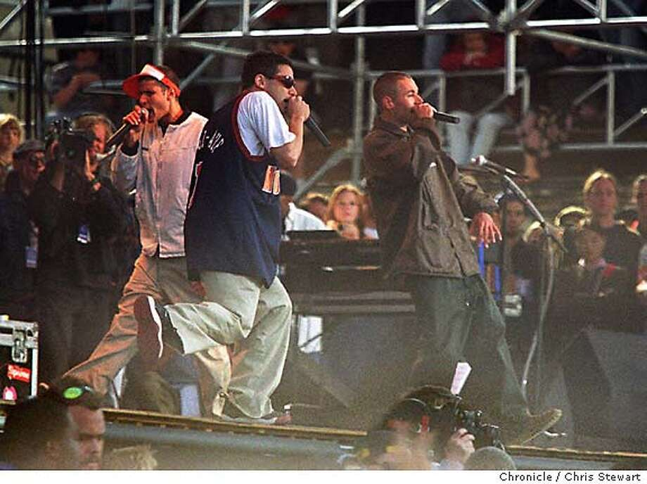 TIBET SHOW 1-8/C/15JUN96/DD/CS - The Beastie Boys perform at the Tibetan Freedom Concert at the Polo Field in Golden Gate Park. Sorry I couldn't get their names. SAN FRANCISCO CHRONICLE PHOTO BY CHRIS STEWART Photo: CHRIS STEWART