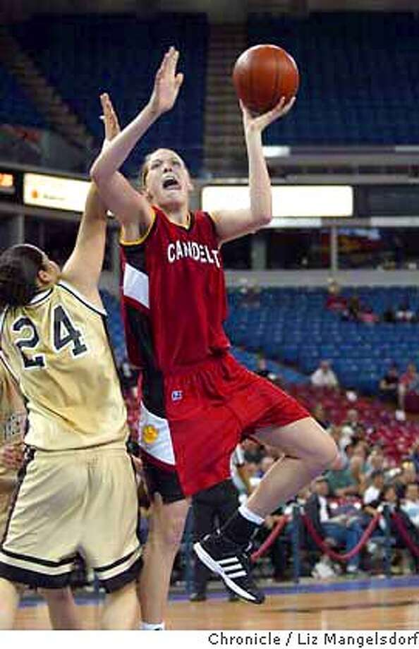 Event on 3/13/04 in Sacramento.  Carondelet's #3 Jayne Appel goes up for a basket against Archbishop #24 Danielle Peterson. Appel scored 17 points in the win.  Carondelet girl's basketball beats Archbishop Mitty 56-32 in the Northern California Championship game at the Arco Arena in Sacramento.  Liz Mangelsdorf / The Chronicle Photo: Liz Mangelsdorf