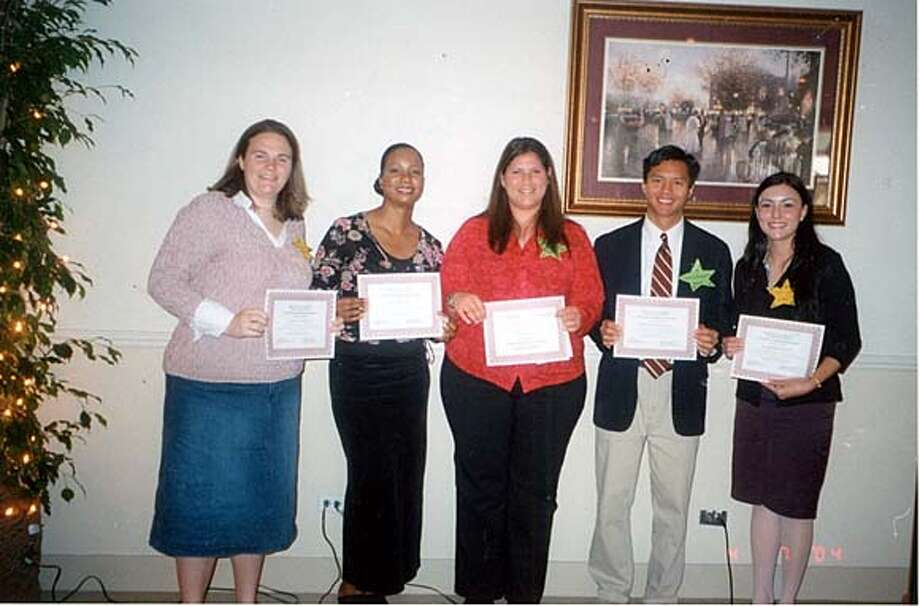 L-R Grace Hartman (Los Mederos College), Monica Doris (LMC), Emily Atar (Diablo Vally College), Mathew Connorton (DVC), Krystal Hinosa (LMC) on 5/3/04 in San Francisco. / HO