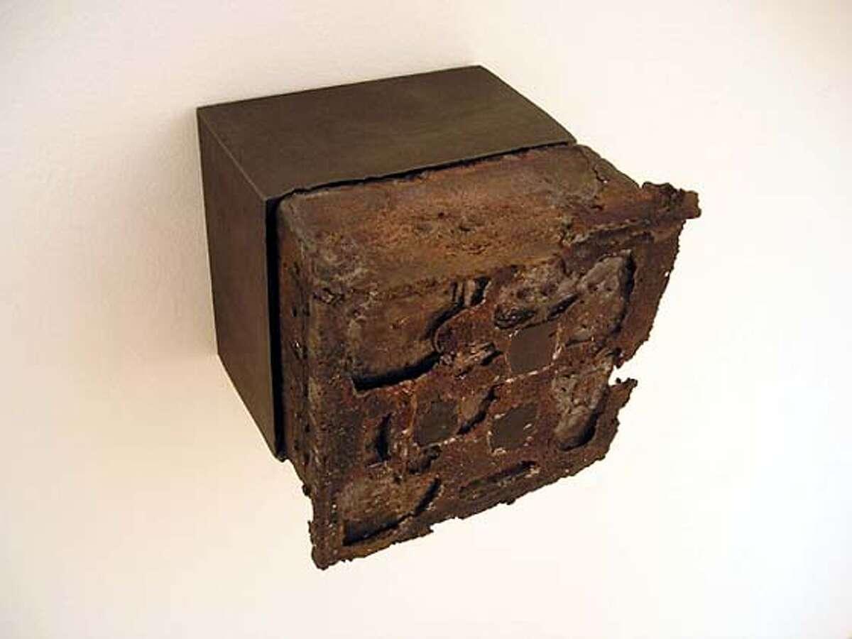 """""""Denatured/Cube 1-6"""" by Shoichi Seino, 2003 ceramic, graphite and copper 4.75 x 4.75 x 4.75 inches PHOTO CREDIT: DON SOKER"""