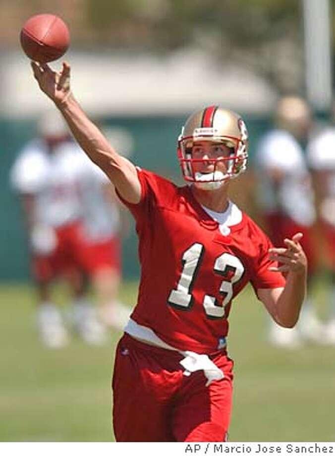 San Francisco 49ers quarterback Tim Rattay throws during minicamp in Santa Clara, Calif., Friday, May 7, 2004. (AP Photo/Marcio Jose Sanchez) Photo: MARCIO JOSE SANCHEZ