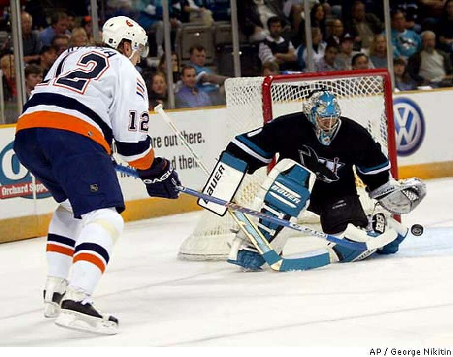 San Jose Sharks goalie Evgeni Nabokov, right, blocks a shot by New York Islanders' Oleg Kvasha, Thursday, March 11, 2004, at HP Pavilion in San Jose, Calif. (AP Photo/George Nikitin) Photo: GEORGE NIKITIN