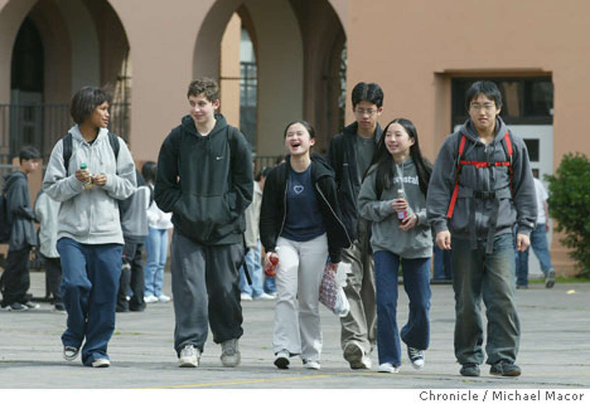 A group of students who came from Aptos Middle School, (left to right) Belinda Li, Max Schrieber, Amanda Soon, Eric Soohoo, Shelley Woo and Jeffrey Huynh, head for band practice after lunch at Balboa High School. Chronicle photo by Michael Macor