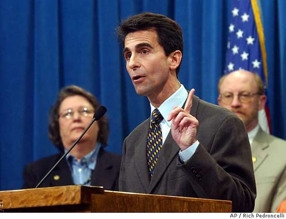 "Assemblyman Mark Leno, D-San Francisco, chair of the Legislature's Lesbian, Gay, Bisexual and Transgender Caucus, called on Gov. Arnold Schwarzenegger to ""tone down the rehetoric"" concerning same-sex marriages during a Capitol news conference held in Sacramento, Wednesday, Feb. 25, 2004. Leno and other members of the caucus, including Assemblywoman Jackie Goldberg, D-Los Angeles, left, and Assemblyman John Laird, D-Santa Cruz, right, called for Schwarzenegger to apologize for ""insulting and inflammatory"" remarks he made last weekend about same-sex marriages. (AP Photo/Rich Pedroncelli) Assemblyman Mark Leno, D-San Francisco, wants city voters to consider a car tax. Assemblyman Mark Leno, D-San Francisco, wants city voters to consider a car tax. Photo: RICH PEDRONCELLI"