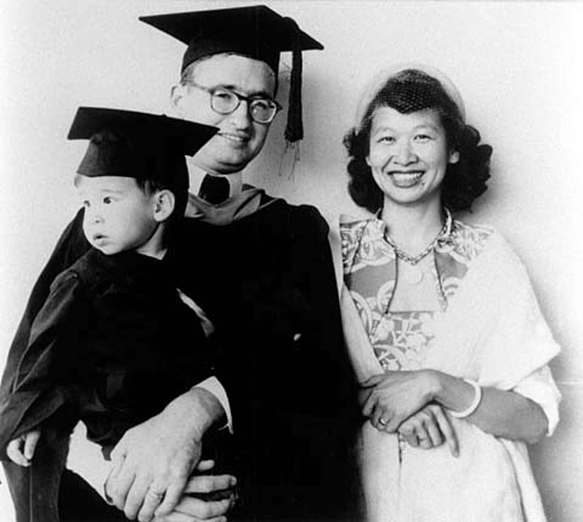 Robert Wilkinson, at his 1953 graduation from UC Berkeley, with wife May-Blossom and son Steve.