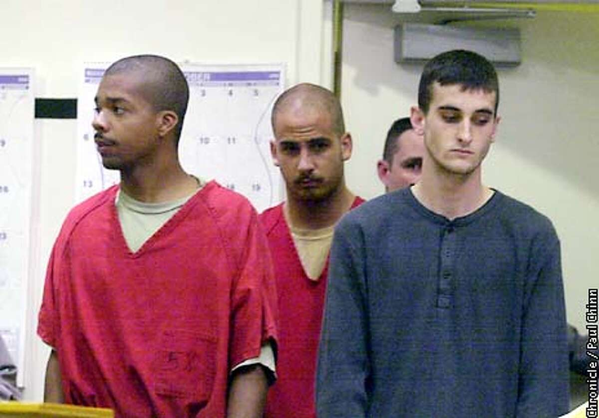 From left, Jose Antonio Merel, Michael William Magidson, and Jaron Chase Neighbors appeared in Superior Court in Fremont. The three men are suspected of killing 17-year-old Eddie Araujo. PAUL CHINN/S.F. CHRONICLE