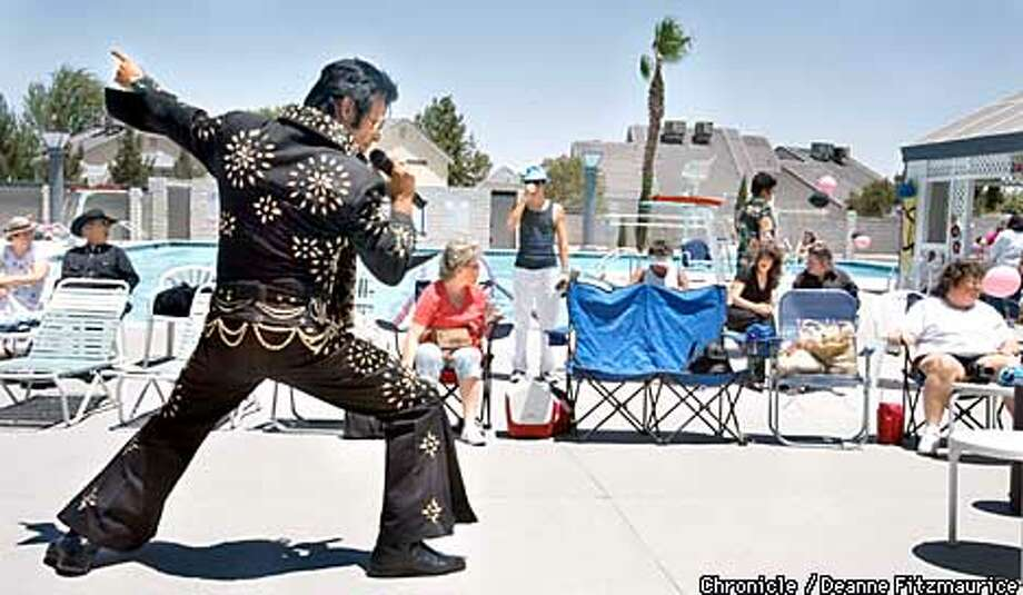 Elvis impersonator Johnny VerHagen performs to a disinterested few at an afternoon pool party to wrap up a weekend at the Elvis Impersonators convention in Las Vegas on the year of the 25th anniversary of Elvis' death. CHRONICLE PHOTO BY DEANNE FITZMAURICE Photo: DEANNE FITZMAURICE