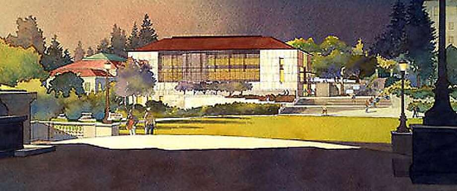 """rendering for the C.V. Starr East Asian Library, which will the first and main building of the two-building Chang-Lin Tien Center for East Asian Studies. UC wants it identified as an """"artist's concept."""""""