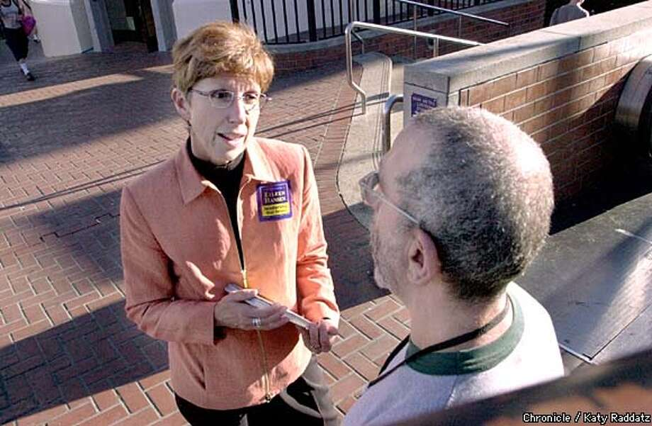 Eileen Hansen, a candidate for District 8 supervisor, campaigns at Harvey Milk Plaza. Chronicle photo by Katy Raddatz