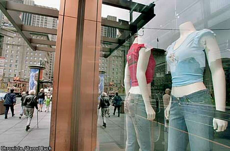 Levi's store window displays show new style jeans facing Union Square on Post Street in San Francisco. CHRONICLE PHOTO BY DARRYL BUSH Photo: Darryl Bush
