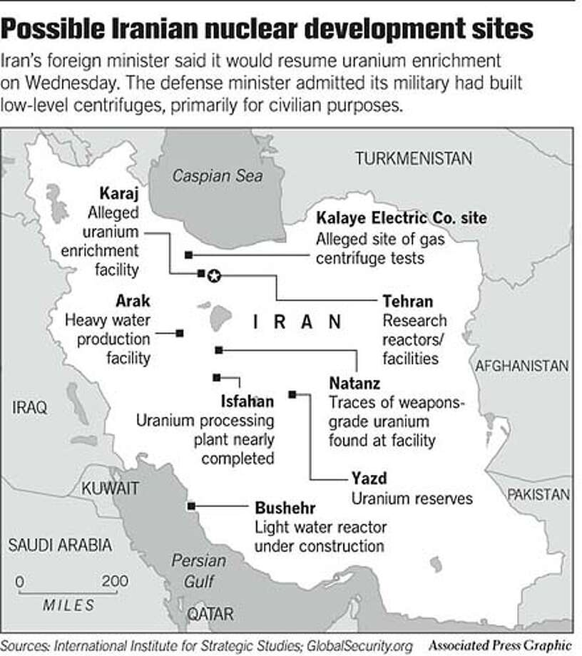 Possible Iranian Nuclear Development Sites. Associated Press Graphic Photo: Chronicle Graphic