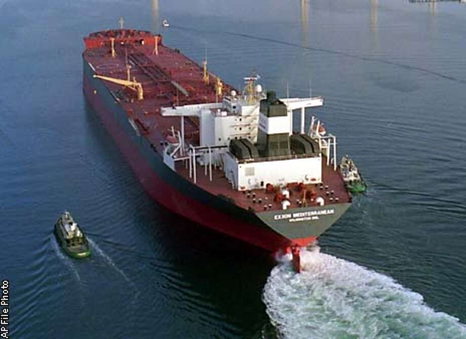 FILE--The ship formerly known as the Exxon Valdez, now called the SeaRiver Mediterranean, is shown near San Diego in an Aug. 29, 1990, file photo. Owners of the oil tanker want a federal subsidy, contending the ship has lost money since it was banned from Alaskan waters following the 1989 oil spill for which it is best known. (AP Photo/Lenny Ignelzi, File)