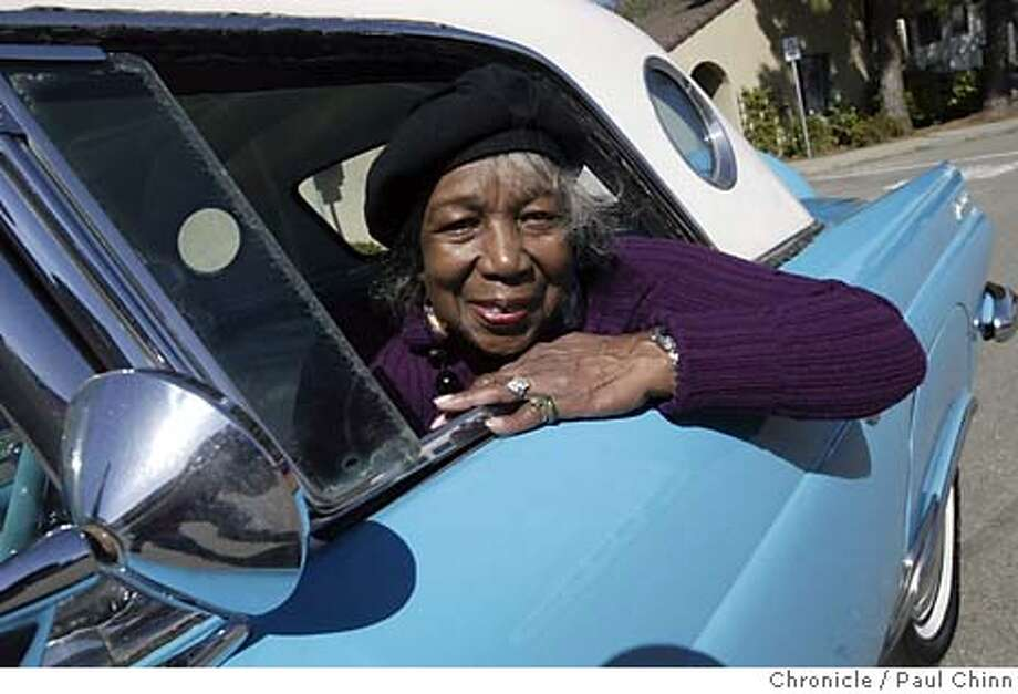 Ruth Witherspoon and her 1956 blue Thunderbird on 3/6/04 in Berkeley. PAUL CHINN/The Chronicle Photo: PAUL CHINN