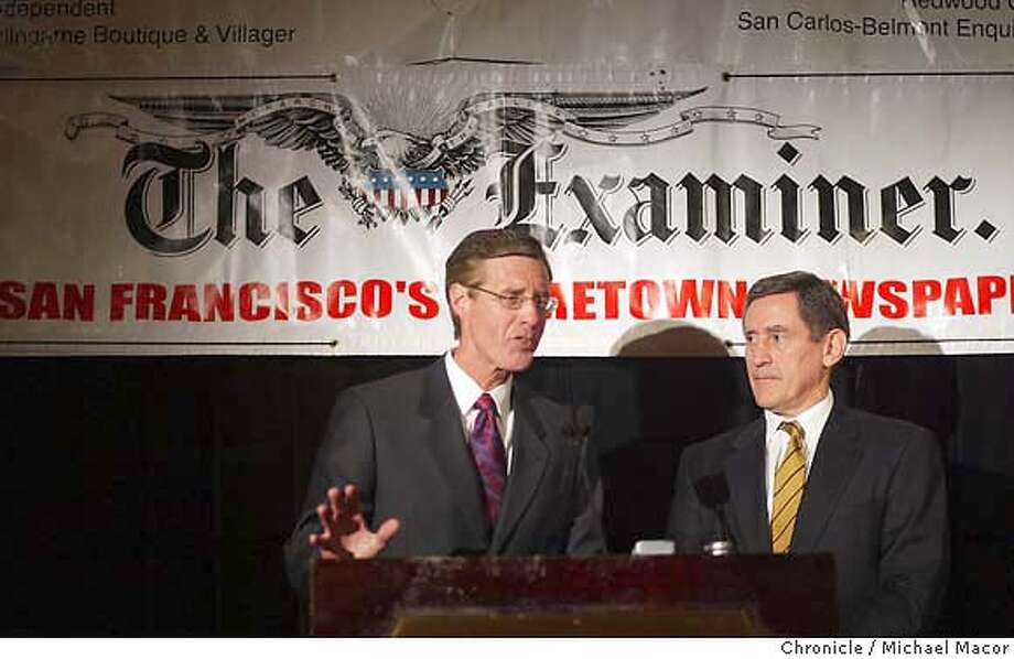 Scott McKibben, President/Publisher SF Newspaper Company,left and Bob Starzel, Chairman SF Newspaper Company explain the deal to the press. Billionaire investor and Qwest Communications founder Phil Anschutz has purchased the San Francisco Examiner from the Fang family and intends to rebuild the once mighty daily. event on 2/19/04 in San Francisco Michael Macor / San Francisco Chronicle Photo: Michael Macor