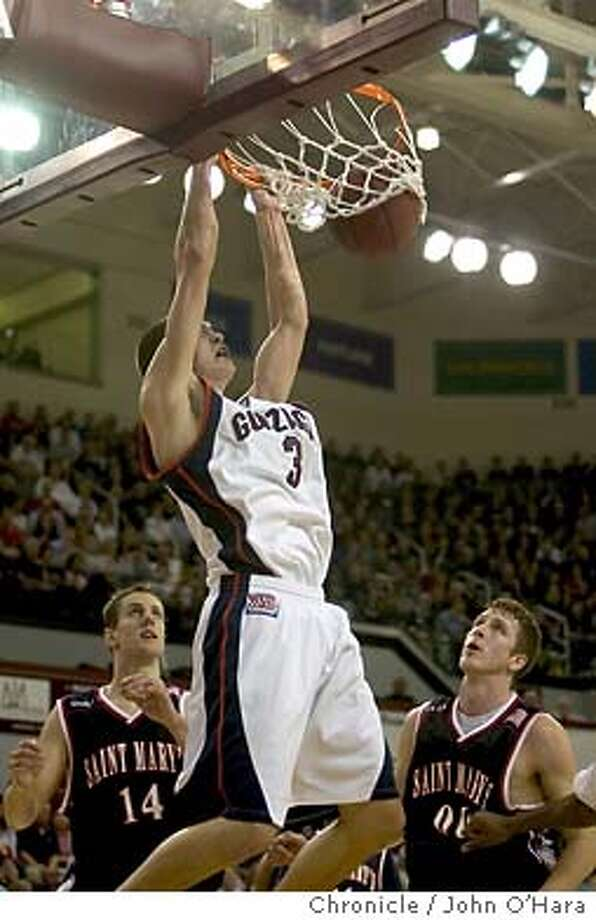 Leavey Center, Univ. Santa Clara, Santa Clara CA  St. Mary's plays Gonzaga (ranked fouth in nation) in the West Coast Conference Championship  Gonzaga #3 Adam Morrison slam's one, to make the score 29/21 Gonzaga  photo....John O'hara Photo: John O'Hara