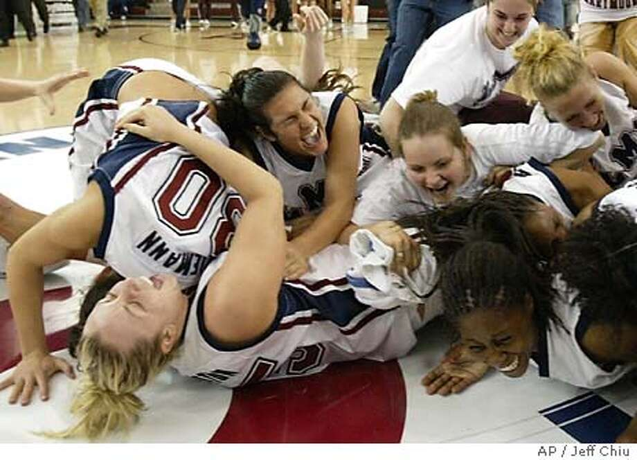 Loyola Marymount players celebrate after beating Gonzaga, 61-58, to win the West Coast Conference championship in Santa Clara, Calif., Sunday, March 7, 2004. (AP Photo/Jeff Chiu) Photo: JEFF CHIU