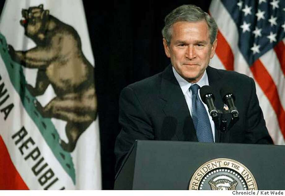 At the end of a fund raising campaign through California that brought in 1.5 million dollars, President George W. Bush addresses supporters during a Bush-Cheney 2004 Luncheon at the Santa Clara Convention Center Thursday on 3/4/04.  Kat Wade/The Chronicle Photo: Kat Wade