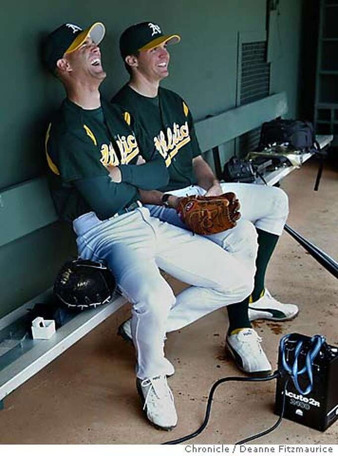 ( l to r) Tim Hudson and Barry Zito share a laugh before the San Francisco Giants play the Oakland Athletics at spring training in Phoenix, Arizona.  CHRONICLE PHOTO BY DEANNE FITZMAURICE Photo: Deanne Fitzmaurice