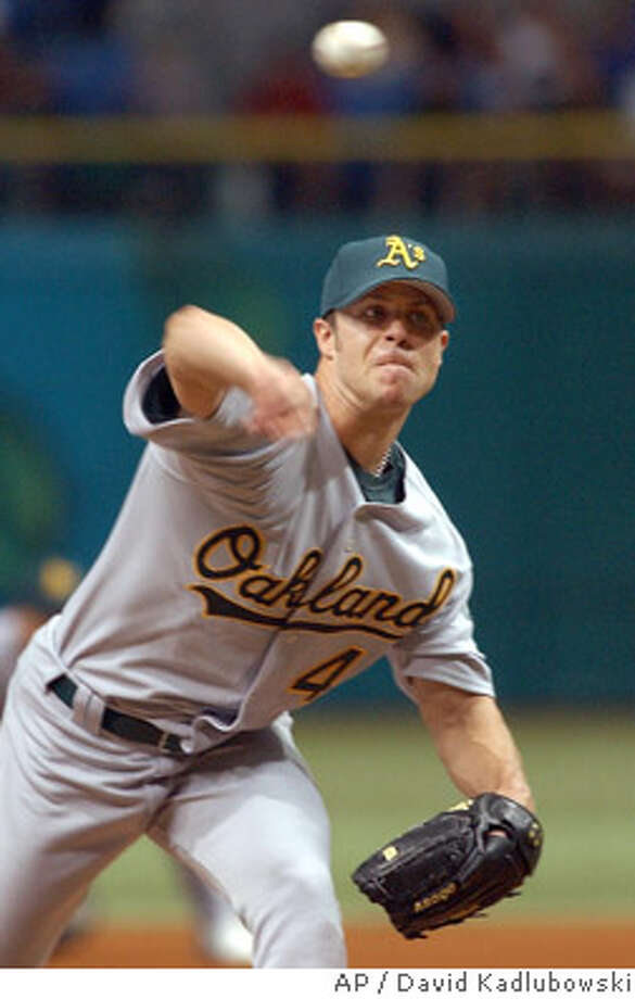 Oakland Athletics pitcher Rich Harden throws during the first inning against the Tampa Bay Devil Rays, Saturday May, 1, 2004 in St. Petersburg, Fla. (AP Photo/David Kadlubowski) Photo: DAVID KADLUBOWSKI