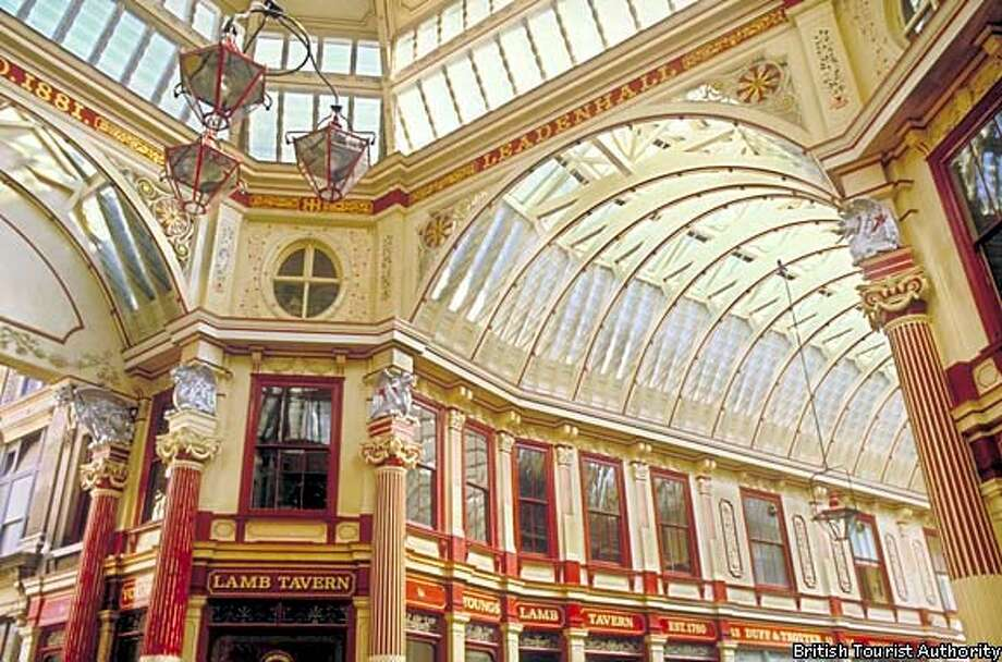 Victorian sensibility: Ye Olde London is re-created under the roof of the City's upscale Leadenhall Market. British Tourist Authority Photo