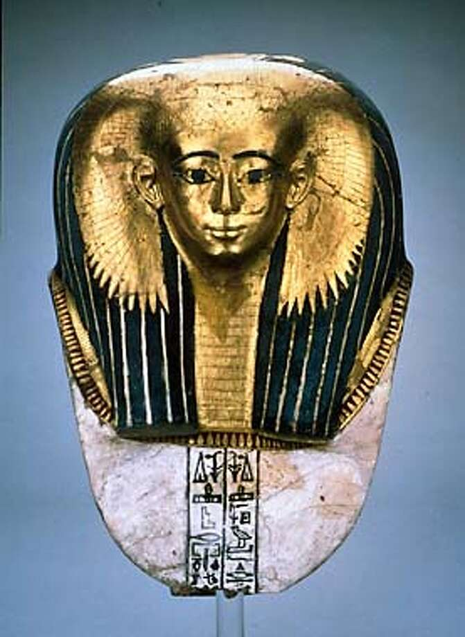 "j.  Mummy Mask of Satdjehuty, New  Kingdom, Early 18thDynasty,  (ca. 1500 BC). Cartonnage, painted  and gilded. H 13"". Provenance  unknown. EA 29770, acquired in  1880, purchased at Morten & Sons  from the sale of the collection of  Samuel Hall.  �Trustees of The British Museum, Courtesy of AFA (HANDOUT PHOTO) Photo: HANDOUT"