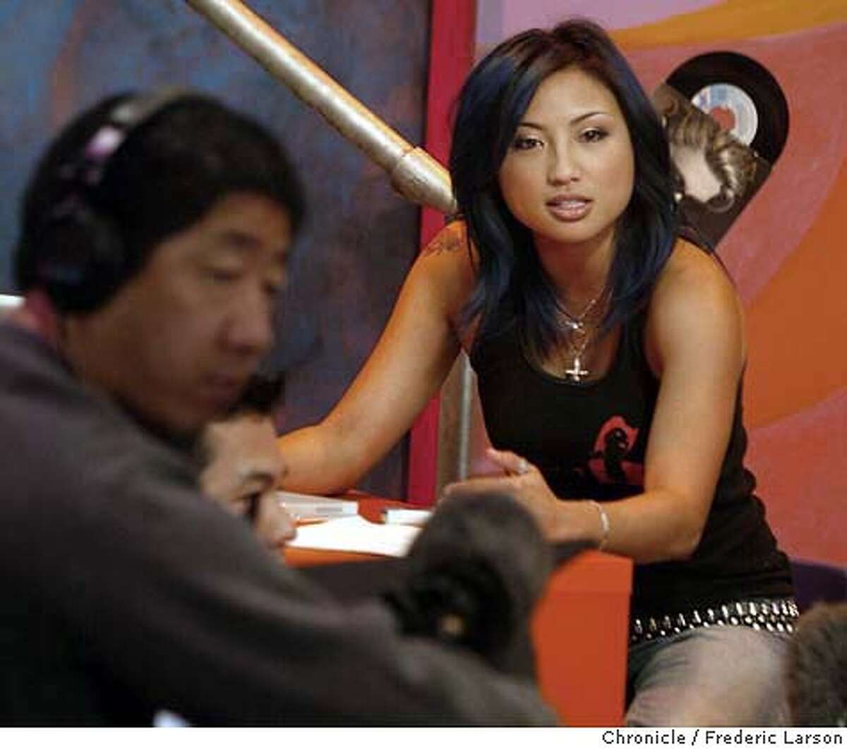 ; Jeannie Mai goes over her lines with the film crew while filming of a new TV show Stir. Stir, a new show appearing on KTSF, features 4 Bay Area Asian American hosts and 2 correspondants, who will report on Asian American affairs -- in English. It's a first for the channel, which has long broadcast shows in other Asian languages -- playing an important role to the immigrant community. Stir is an attempt to reach out the next generation. The first show premiers in the Bay Area on March 5. City:� 2/24/04, in San Francisco, CA. Frederic Larson/The Chronicle;