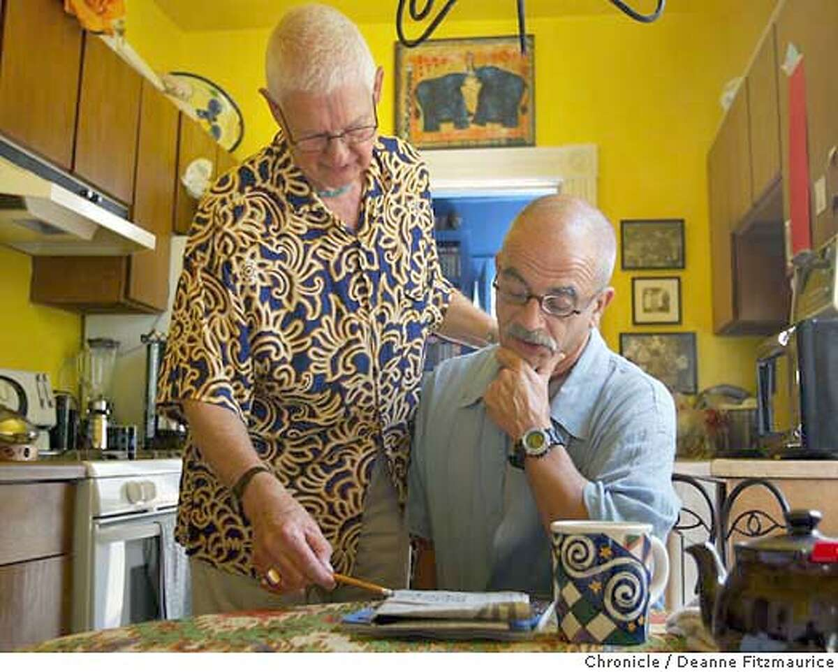 Otis Charles, 78, (wearing multi-colored shirt) is the first openly gay Episcopalian bishop in the country. He recently married (this is a same-sex marriage and not a legal marriage) his partner, Felipe Sanchez (wearing solid, light blue shirt). They are in the kitchen of their San Francisco home. Deanne Fitzmaurice / The Chronicle