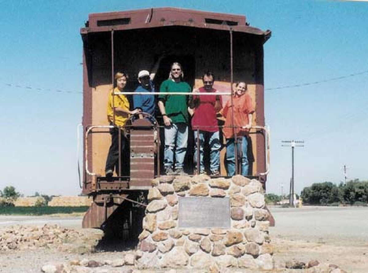 / for: Friday Wonka: A team from Willie Wonka Game in 1999. From left: Daishi Harada, John Ananny, team captain Brent Holman, David Andre, Linda Holman. The location is Caboose SP 1212 in the town of Byron in the East Bay. Everyone in the picture has been awake for more than 30 hours.