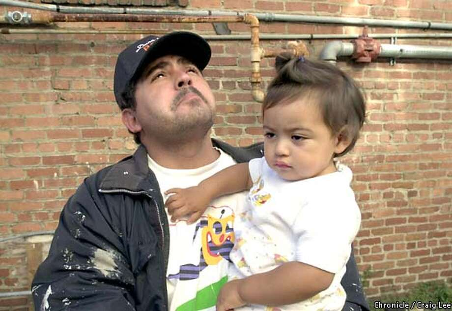Photo of Fidel Sanchez with his 18-month-old girl, Sophia Sanchez, looking up at the window where the little girl fell out of. Fidel lives in the same building as the little girl who fell out of the window and Sophia was a playmate of the little girl's. Window where an 18-month-old girl fell out of a three story window, through the slats, at 3369 26th Street at 3:05 pm yesterday, August 5th. She later died this morning around 1am. Photo by Craig Lee/San Francisco Chronicle Photo: CRAIG LEE