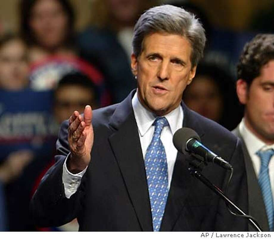 Democratic presidential hopeful Sen. John Kerry, D-Mass., makes remarks on the victories of his campaign for the Democratic presidential nomination, Tuesday, March 2, 2004, in Washington. (AP Photo/Lawrence Jackson) Photo: LAWRENCE JACKSON