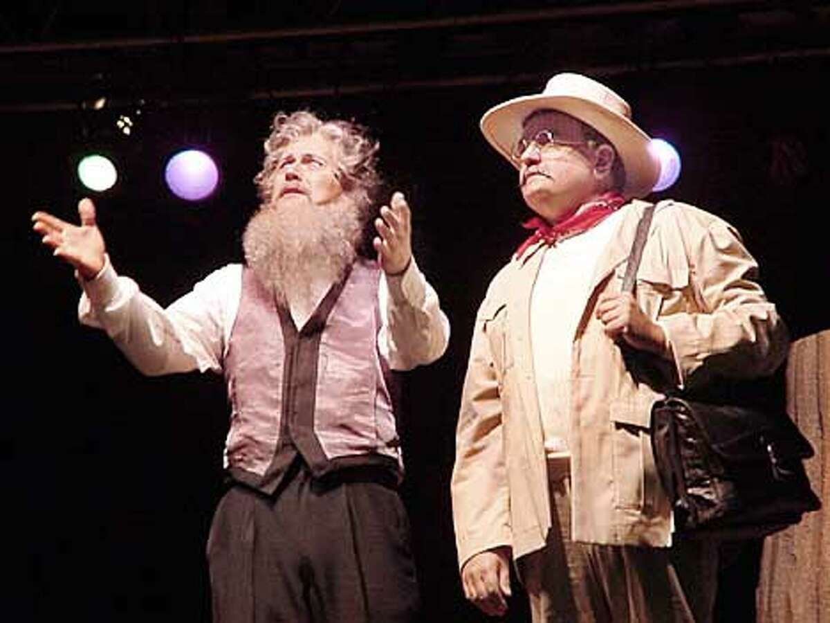"""John Muir (played by Lee Strawn, left) shows Teddy Roosevelt (Richard Adamson) Muir's beloved Yosemite Valley during one of the numbers in """"Mountain Days."""" Photo by Judy Potter"""