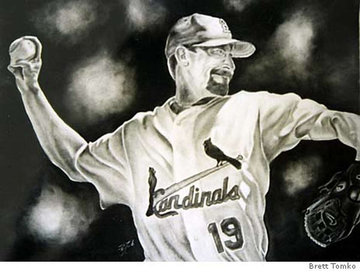 giants25_006_pc.JPG Giants pitcher Brett Tomko sketched this charcoal rendering of former Cardinals teammate Woody Williams in St. Louis last season. 2/24/04 in Scottsdale, AZ. HANDOUT / Special To The Chronicle
