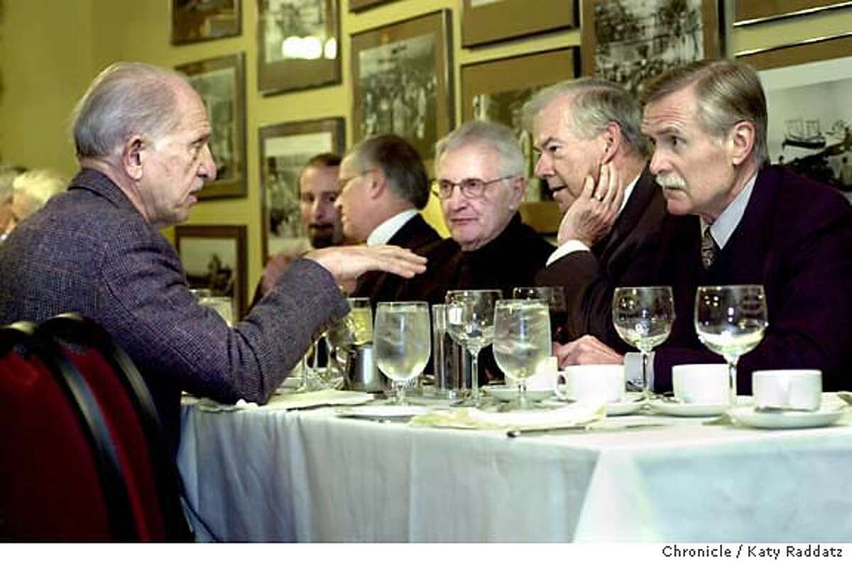 SHOWN: At the weekly meeting of Il Cenacolo at Fior d'Italia in North Beach, Joseph Giordano (L) talks to F. Ross Adkins (far R). Il Cenacolo is the generous Italian men's group who quietly and consistently supports the arts. They have lunch each Thursday at Fior d'Italia in North Beach. Shoot date is 2/19/04; writer is Staphanie Salter. Katy Raddatz / The Chronicle
