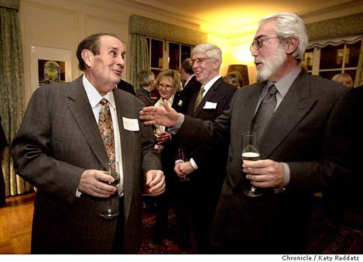 SHOWN: L: Robert Palazzi, the president of Il Cenacolo, in passionate conversation with Italian Consul General Francesco Sciortino (R) at a party at the Italian Consulate in San Francisco to honor Il Cenacolo. Story about Il Cenacolo, a 75-yr-old group of mostly Italian men who meet each week in North Beach, love music and theater, and have quietly and consistently donated large amounts of money to San Francisco Arts groups. They are being honored by the Merola opera program (part of the SF Opera) on April 2nd. Stephanie Salter is the writer; this shoot date is 2/11/04. Katy Raddatz / The Chronicle