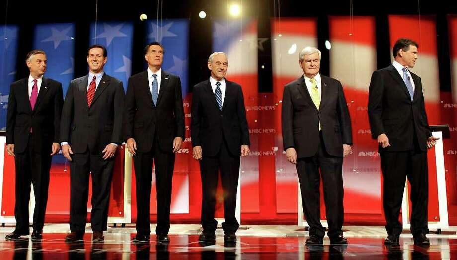 """Candidates on stage at a Republican debate hosted by NBC's """"Meet the Press"""" and Facebook in Concord, N.H., on Jan. 8, 2012. The debate, the second this weekend, is the last before the New Hampshire primary on Jan. 10. From left: Former Utah Gov. Jon Huntsman, former Pennsylvania Sen. Rick Santorum, former Massachusetts Gov. Mitt Romney, Rep. Ron Paul (Texas), former House Speaker Newt Gingrich and Texas Gov. Rick Perry. (Cheryl Senter/The New York Times) Photo: CHERYL SENTER / NYTNS"""
