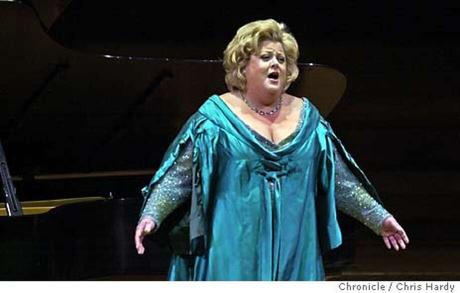Soprano Deborah Voigt, fired by London opera company for being overweight, singing at Davies Hall  Event on 4/18/04 in San Francisco.  Chris Hardy / San Francisco Chronicle Photo: Chris Hardy