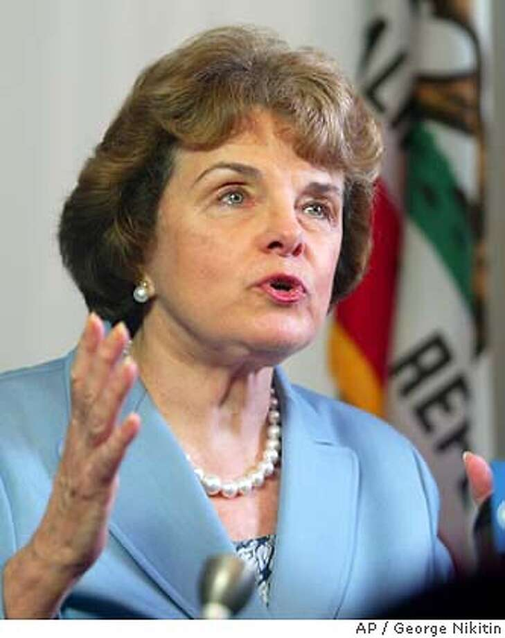 Sen. Dianne Feinstein, D-Calif., discusses the recall vote at her offices in San Francisco, Wednesday, Oct. 8, 2003. (AP Photo/George Nitikin)  ALSO RAN 11/26/2003; 2/12/2004 Sen. Dianne Feinstein called the actions by the financial industry &quo;diabolical.&quo; Photo caption privacy22_PH1097107200APSen. Dianne Feinstein, D-Calif., discusses the recall vote at her offices in San Francisco, Wednesday, Oct. 8, 2003. (AP Photo-George Nitikin) Dianne Feinstein warned that the country appears arrogant. Dianne Feinstein warned that the country appears arrogant. Politics#MainNews#Chronicle#11/4/2003#ALL#5star#A14#0421429744 Sens. Dianne Feinstein (left) and Barbara Boxer fought for the state's privacy law. Nation#MainNews#Chronicle#11/6/2003#ALL#3star##0421429744 Sen. Dianne Feinstein, seeking to renew her weapons ban, says tougher laws have &quo;no chance.&quo; Sen. Dianne Feinstein, seeking to renew her weapons ban, says tougher laws have &quo;no chance.&quo; Sen. Dianne Feinstein, seeking to renew her weapons ban, says tougher laws have &quo;no chance.&quo; Sen. Dianne Feinstein favors a moratorium on Internet taxes. CAT Nation#MainNews#Chronicle#11/21/2003#ALL#3star##0421429744 Photo: GEORGE NIKITIN