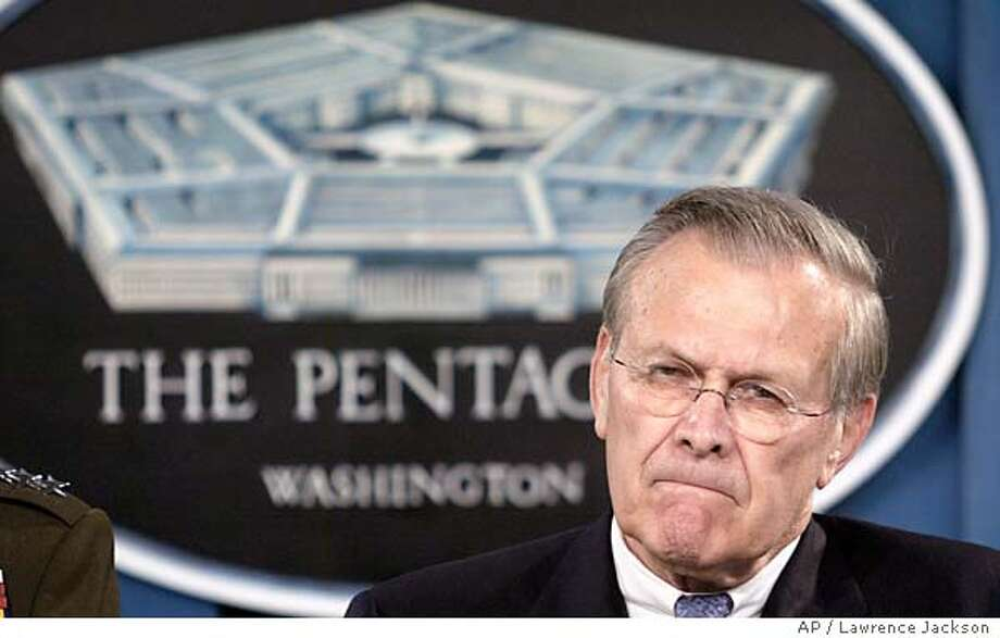 Defense Secretary Donald Rumsfeld addresses the media, Tuesday, April 20, 2004, in Washington. (AP Photo/  Lawrence Jackson Defense Secretary Donald Rumsfeld said plans have been made to send more U.S. troops to Iraq if they are needed. ProductName	Chronicle Photo: LAWRENCE JACKSON