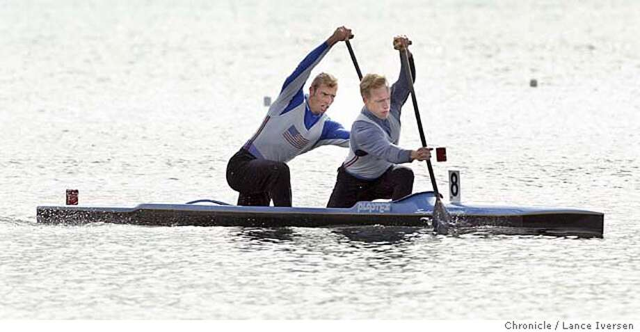 KAYAK19040_LIA.JPG event on 4/18/04 in OAKLAND Winners of the 1000-meter men�s two man Canoe Nate Johnson (front of canoe) and Jordan Malloch (cq). With the win they how will travel to Brazil in hopes to qualifying their boat in the Summer Olympic Games in Athens. Lance Iversen/The San Francisco Chronicle Photo: Lance Iversen