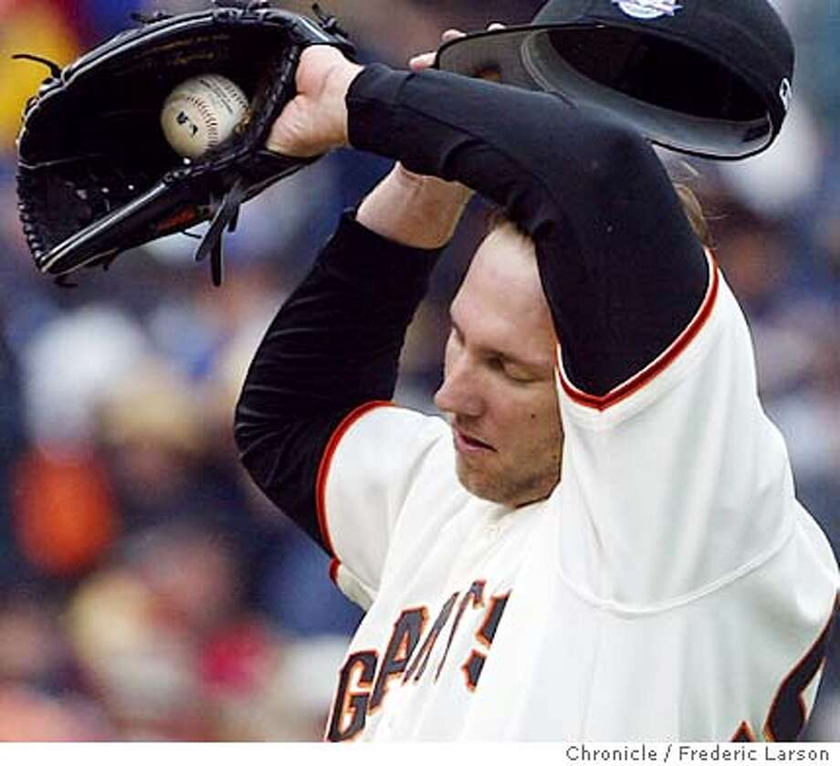 ; San Francisco Giants starting pitcher Brett Tomko was shelled in the 6th inning as the L.A Dodgers scored six runs at SBC Park, SF. City:� 4/18/04, in San Francisco, CA. Frederic Larson/The Chronicle; Photo: Frederic Larson