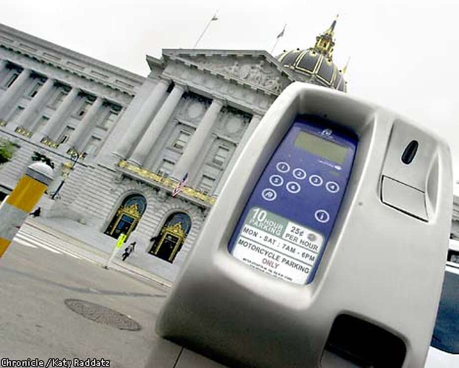 PHOTO BY KATY RADDATZ--THE CHRONICLE  A new high-tech parking meter in front of City Hall that accepts nickels, dimes, and quarters. Photo: KATY RADDATZ