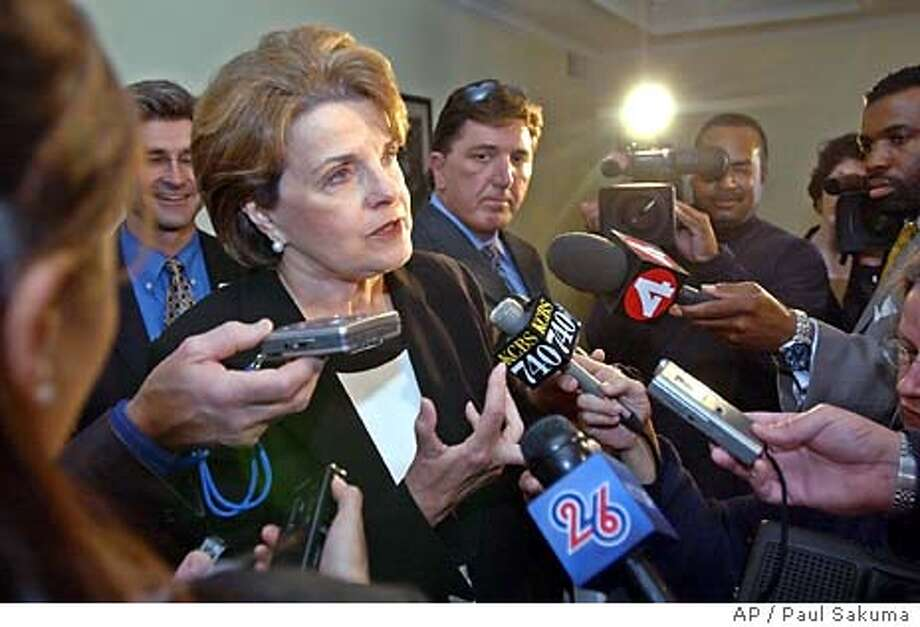 U.S. Sen. Dianne Feinstein, D-Calif., gestures during a news conference in San Jose, Calif., Wednesday, April 14, 2004 before a meeting with Silicon Valley business leaders to discuss the flagging local economy, offshore outsourcing of jobs, tax issues and Internet access programs affecting the technology industry. Feinstein also talked about the latest developments in Iraq, the Sept. 11 Commission hearings and the growing federal deficit. (AP Photo/Paul Sakuma) Sen. Dianne Feinstein said the nation had been misled about the presence of weapons of mass destruction in Iraq: &quo;These are very serious things to say, and I don't say them easily, but I believe them to be true.&quo; Sen. Dianne Feinstein says the nation was misled about the presence of weapons of mass destruction in Iraq: &quo;These are very serious things to say, and I don't say them easily, but I believe them to be true.&quo; Photo: PAUL SAKUMA